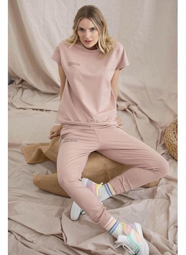 Sementa Oversize Kısa Kollu Tshirt - Bej Bej